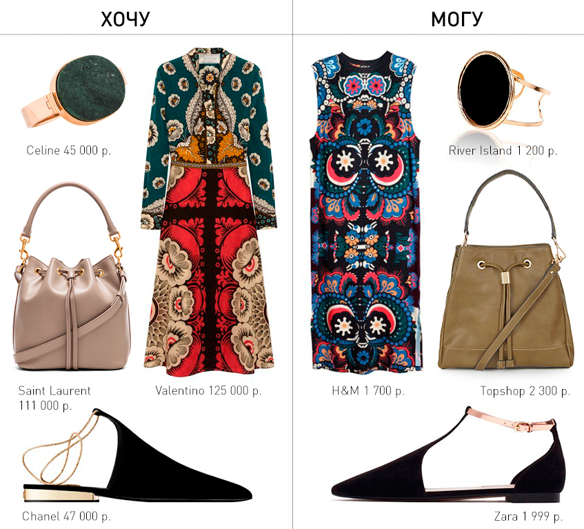 хочу/могу, мода, fashion, сумка, обувь, масс-маркет, принт, платье, стиль, valentino, chanel, saint laurent, celine