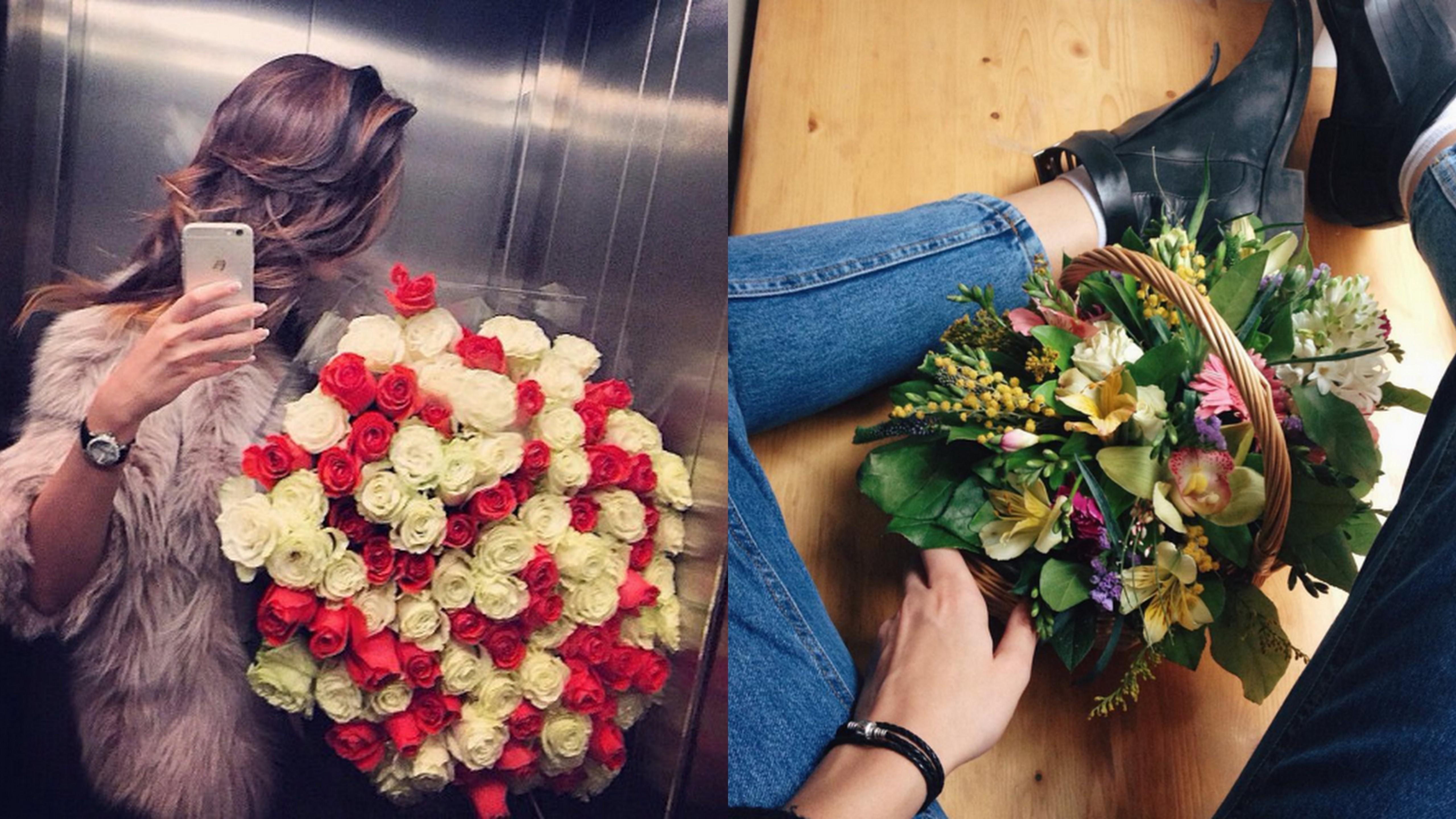 Брюнетки с цветами в домашних условиях 536
