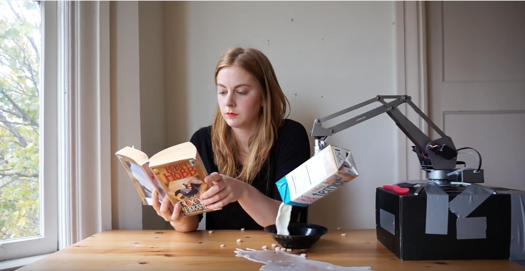 Simone Giertz robot cereal