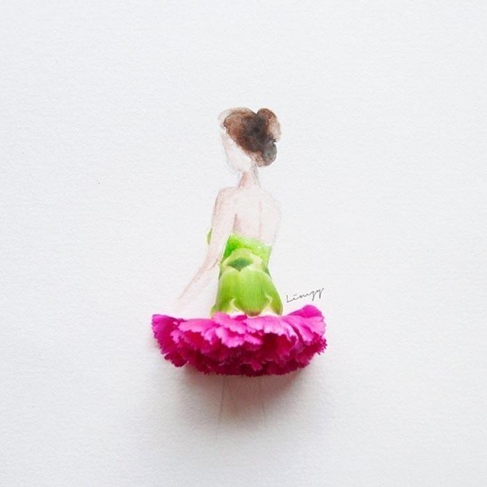 Рисунок девушка в платье из лепестков