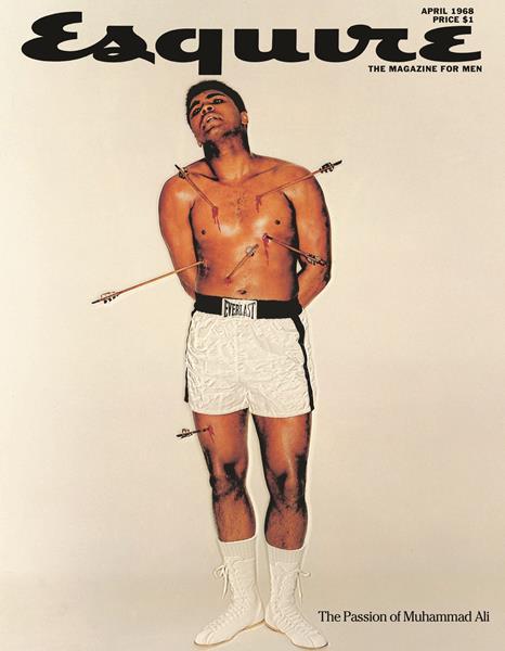 Мохаммед Али (72), журнал Esquire, апрель 1968. Известный американский боксер появился на обложке после отказа вступить в ряды американской армии. Впоследствии он был дисквалифицирован и лишен титула. На обложке под заголовком