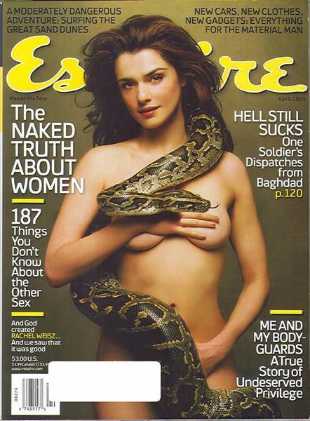 Рэйчел Вайс (44), журнал Esquire, апрель 2004. Американский журнал показал свою интерпретацию образа Евы, искушаемой Змеей. А роль прародительницы всех женщин сыграла перед объективом Джеймса Уайта восхитительная Рэйчел Вайс. Эта фотосессия вошла в Топ-10 лучших «голых» обложек по версии MTV в 2010 году.