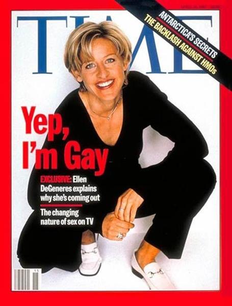 """Эллен Дедженерес (56), журнал TIME, апрель 1997. Обложка с заявлением """"Да, я лесбиянка"""" от известной телеведущей произвела фурор. После этого многие телеканалы решили убрать из эфира ее передачи. Тогда Эллен была единственной ведущей, осмелившейся признаться в своей сексуальной ориентации."""