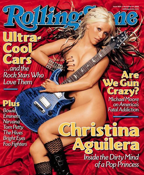Кристина Агилера (34), журнал Rolling Stone, ноябрь 2002. Сняться для обложки Rolling Stone – шаг к успеху. Звезды охотно откровенничают в интервью изданию, обнажая не только душу, но и тело. Вот и певица Кристина Агилера появилась на обложке без ничего, скромно прикрываясь гитарой.
