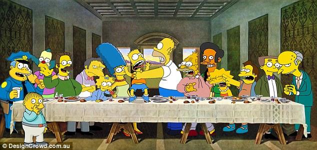 Леонардо да Винчи, «Тайная вечеря» - Симпсоны