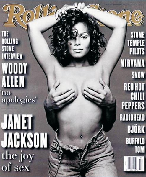 Джанет Джексон (48), журнал Rolling Stone, сентябрь 1993. Для обложки фотограф Патрик Демаршелье предложил поп-звезде сексуальный полуобнаженный образ: Джексон позирует в расстегнутых джинсах, ее грудь прикрывает ладонями ее бойфренд Рене Элизондо.