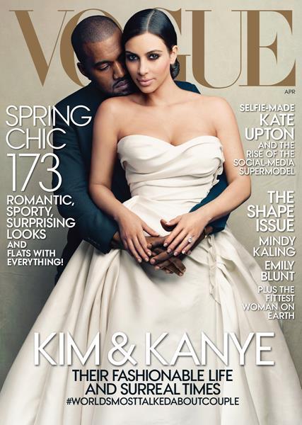 Ким Кардашьян (34) и Канье Уэст (37), журнал Vogue, апрель 2014. Главный редактор американского Vogue два года назад заявила, что хуже Ким Кардашьян могут быть только носки, надетые вместе с сандалиями. Что интересно, пару лет спустя носки с сандалиями признали как удачную модную идею, а Ким все-таки попала на обложку с мужем Канье Уэстом, да еще и в свадебном платье. В чем дело? Винтур снизила требования или решила следовать тренду?