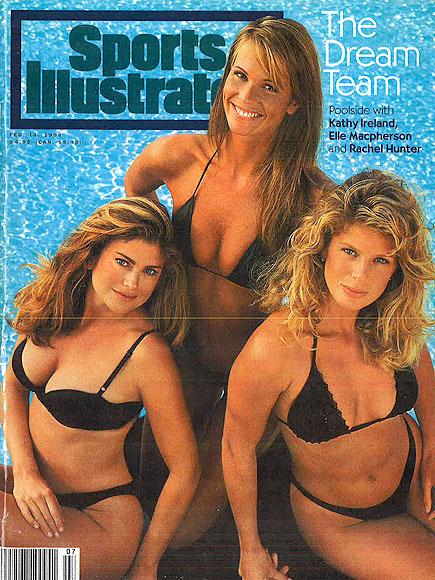 Актриса и модель Кэти Айрлэнд (52), топ-модель Эль Макферсон (51) и актриса, фотомодель Рэйчел Хантер (45), 1994