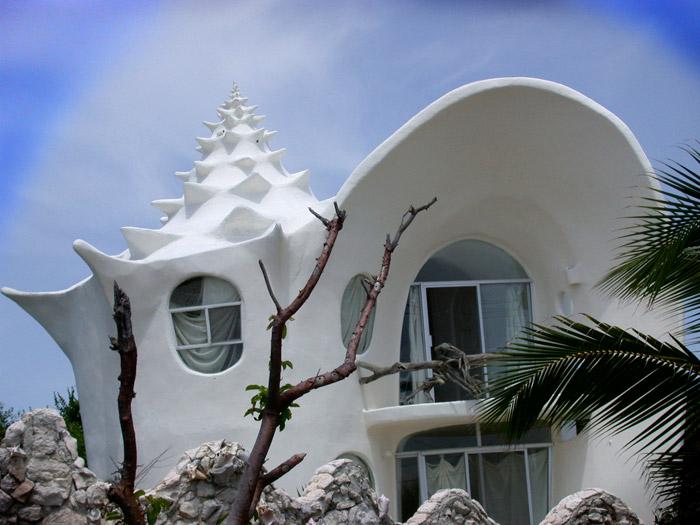 Дом-улитка Остров Мухерес, Мексика.