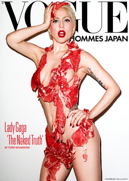 Леди Гага (28), журнал Vogue Hommes Japan, №5 (осень-зима) 2010. Эпатажная певица не перестает удивлять публику. Специально для японского издания журнала она снялась обнаженной, а ее пикантные места были прикрыты сырыми кусками мяса. Фотография была сделана модным фотографом Терри Ричардсоном.