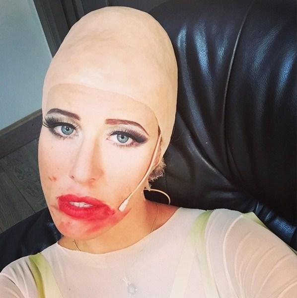 Ксения Собчак экспериментировала с макияжем.