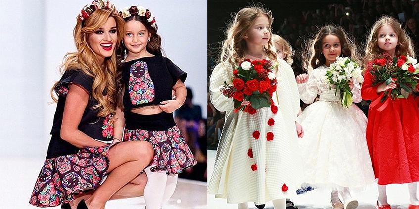 Ксения Бородина вывела на подиум свою 5-летнюю дочь Марусю, чтобы продефилировать в «family look» от дизайнера Яны Шевченко. Марусе явно по душе роль модели, позже она участвовала в показе Юлии Прохоровой .