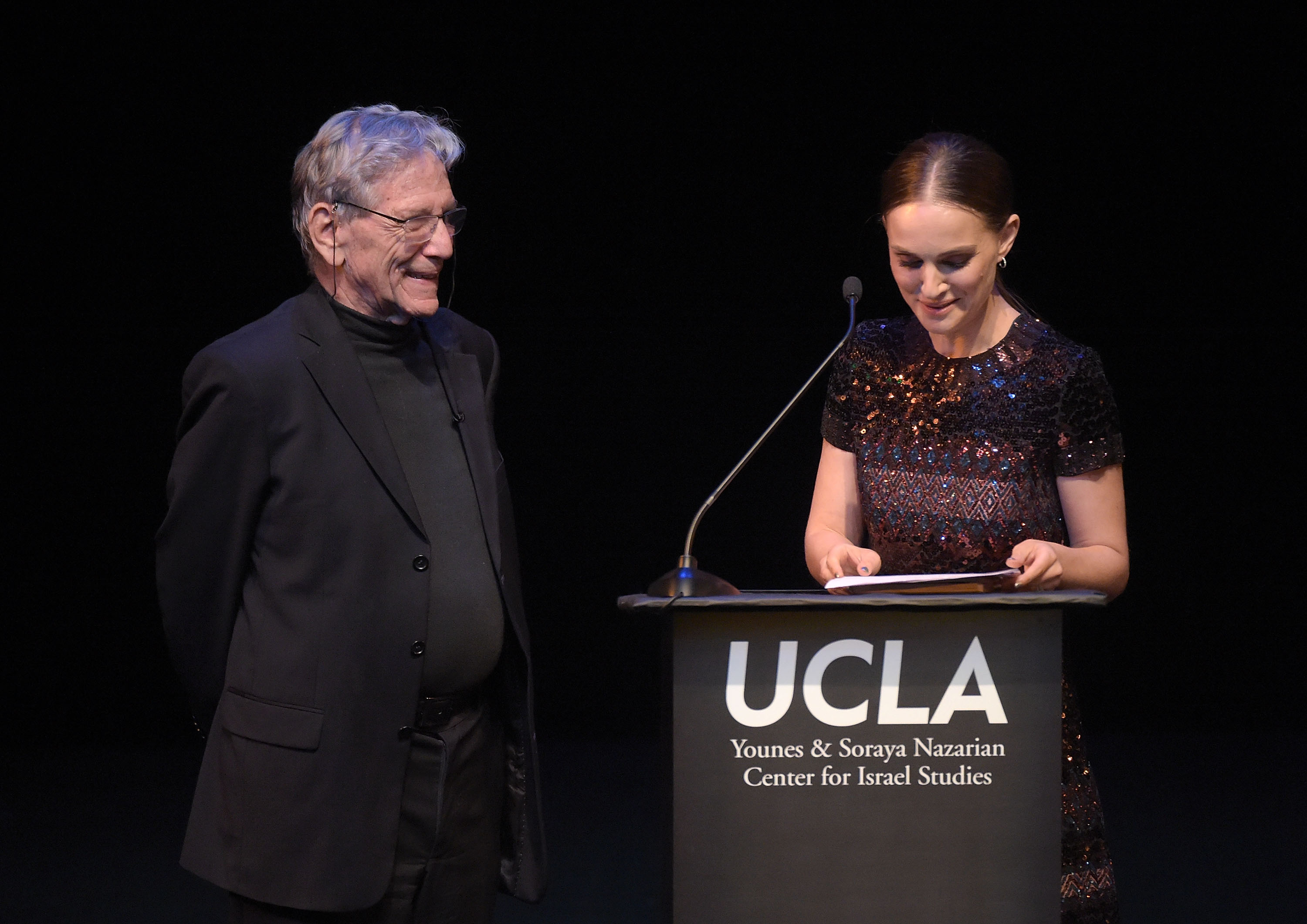 BEVERLY HILLS, CA - MAY 05:  Author Amos Oz and actress Natalie Portman attend the UCLA Younes & Soraya Nazarian Center For Israel Studies 5th Annual Gala at Wallis Annenberg Center for the Performing Arts on May 5, 2015 in Beverly Hills, California.  (Photo by Jason Kempin/Getty Images)