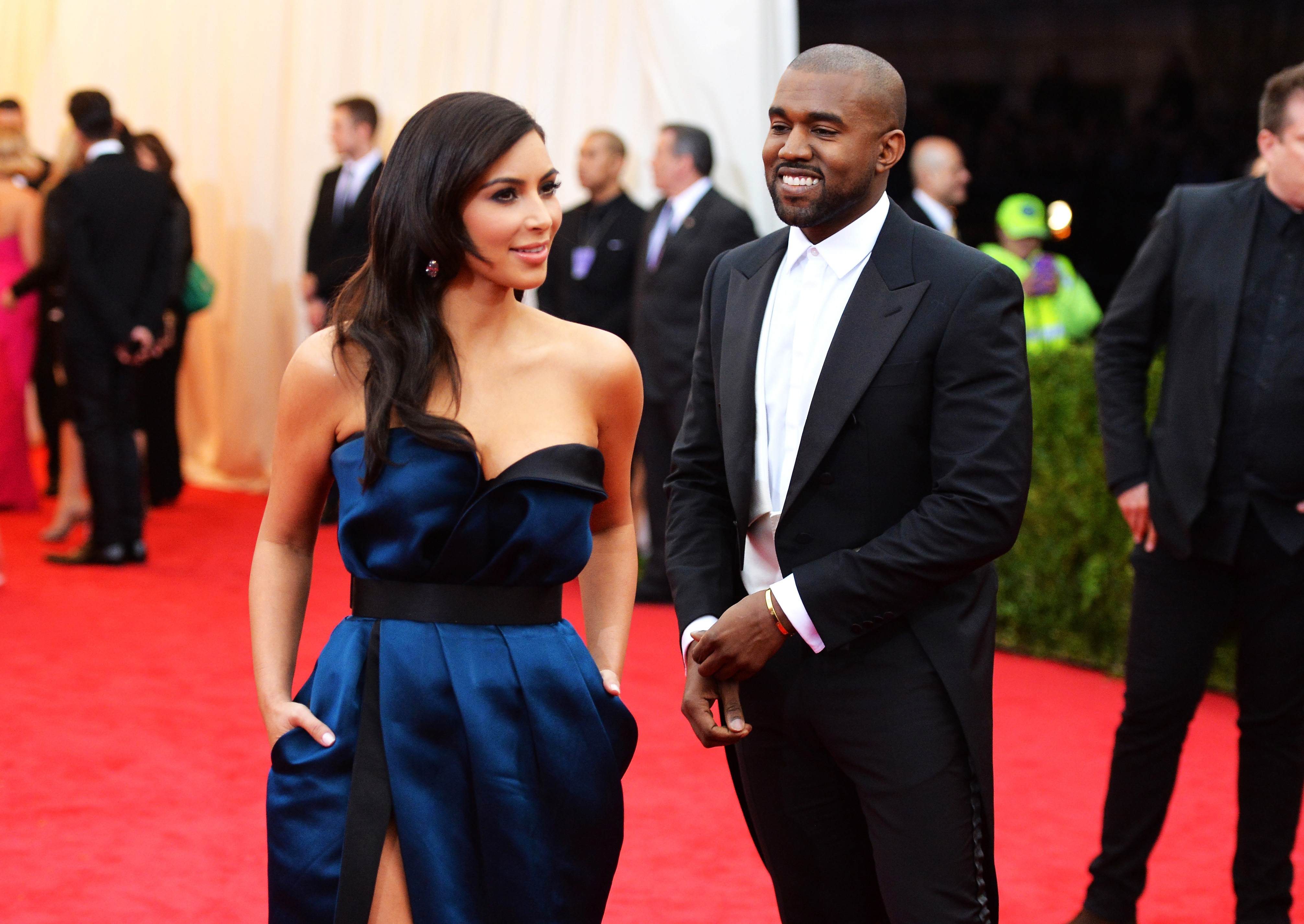 "NEW YORK, NY - MAY 05: Kim Kardashian (L) and Kanye West attend the ""Charles James: Beyond Fashion"" Costume Institute Gala at the Metropolitan Museum of Art on May 5, 2014 in New York City. (Photo by Mike Coppola/Getty Images)"