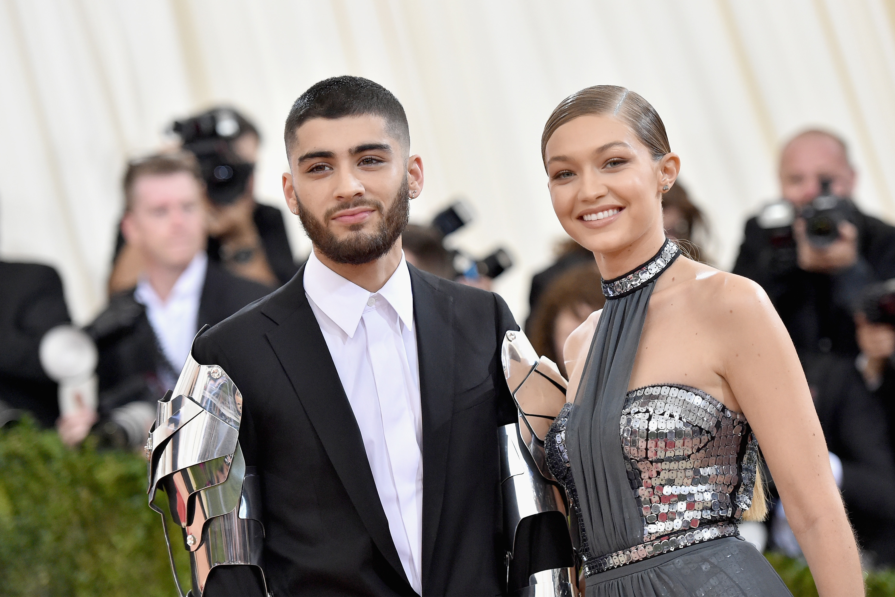 """NEW YORK, NY - MAY 02: Zayn Malik (L) and Gigi Hadid attend the """"Manus x Machina: Fashion In An Age Of Technology"""" Costume Institute Gala at Metropolitan Museum of Art on May 2, 2016 in New York City. (Photo by Mike Coppola/Getty Images for People.com)"""