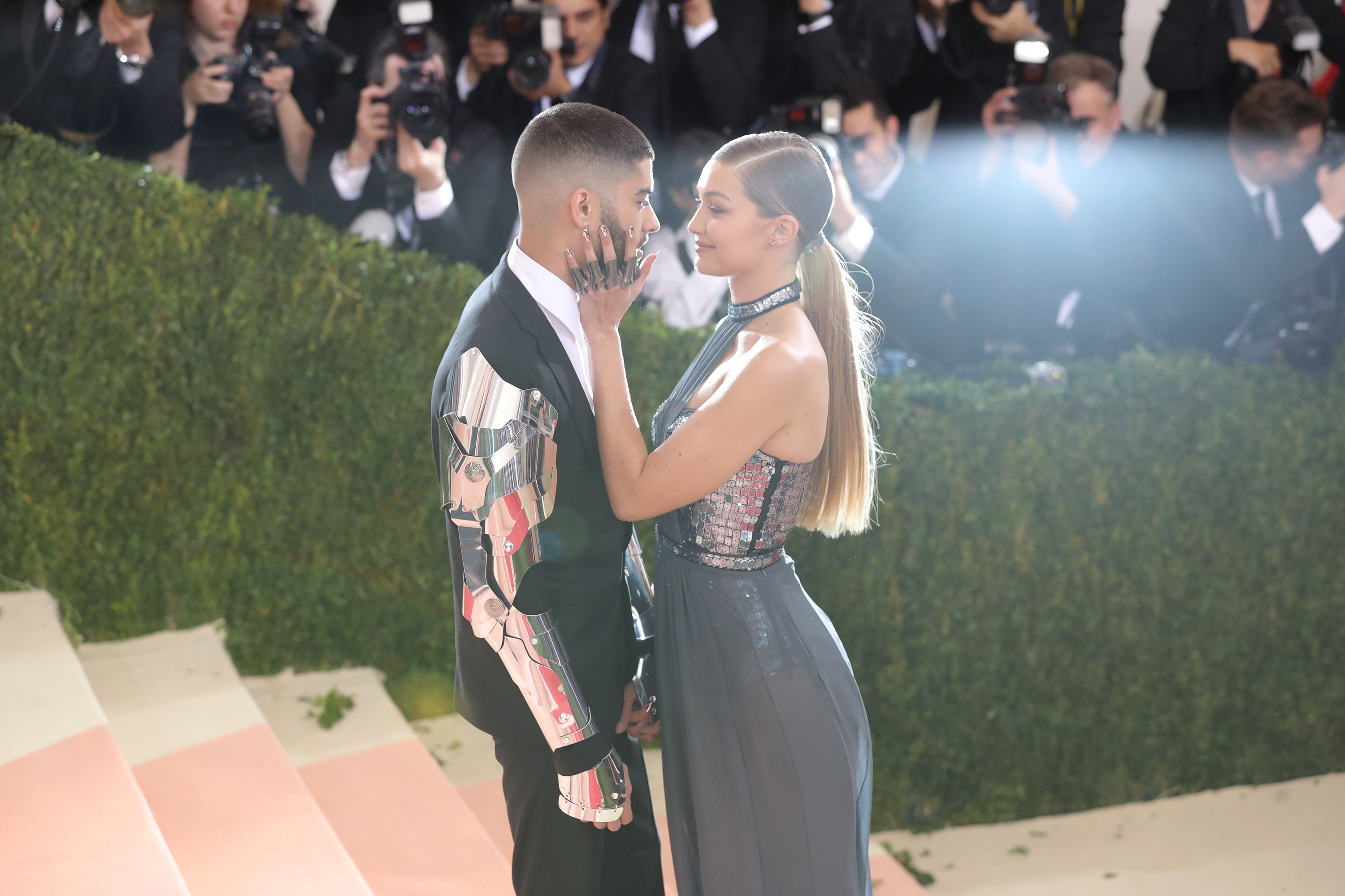 """NEW YORK, NY - MAY 02:  Gigi Hadid and Zayn Malik attend the """"Manus x Machina: Fashion In An Age Of Technology"""" Costume Institute Gala at Metropolitan Museum of Art on May 2, 2016 in New York City.  (Photo by Neilson Barnard/Getty Images for The Huffington Post)"""