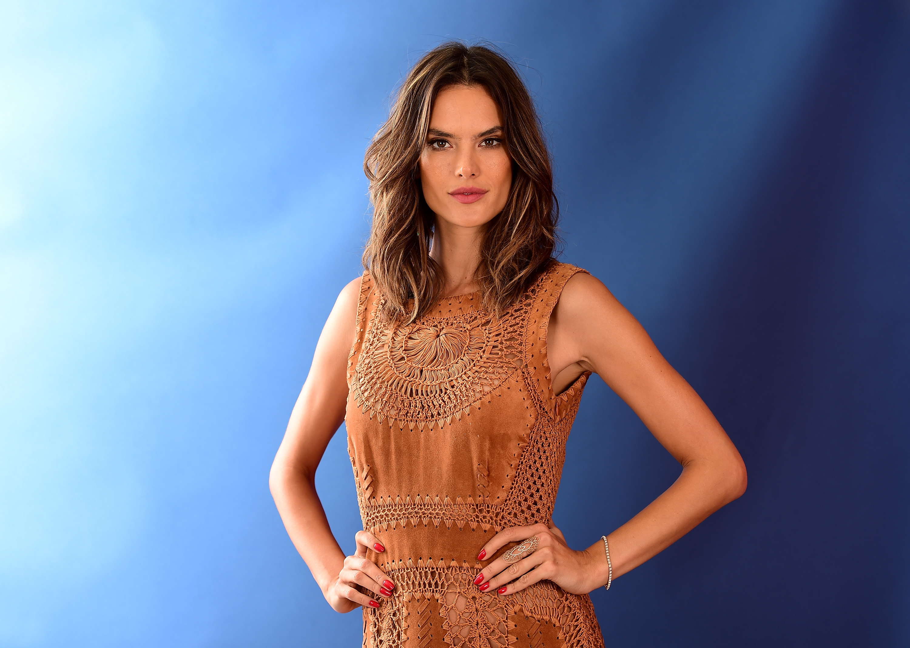 RIO DE JANEIRO, BRAZIL - AUGUST 08: (BROADCAST - OUT) Model Alessandra Ambrósio poses for a photo on the NBC Today show set on Copacabana Beach on August 8, 2016 in Rio de Janeiro, Brazil. (Photo by Harry How/Getty Images)