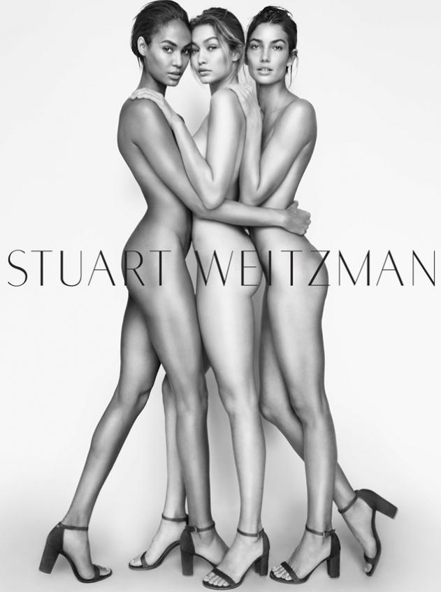 Джиджи Хадид (20), Лили Олдридж (30) и Джоан Смоллс (27) для Stuart Weitzman