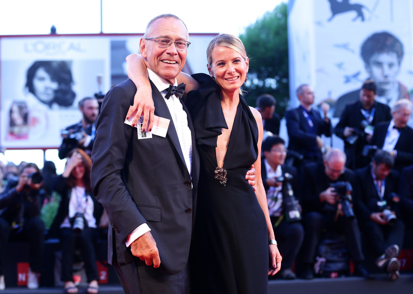 VENICE, ITALY - SEPTEMBER 06: DirectorAndrei Konchalovsky and wife Julia attend the Closing Ceremony of the 71st Venice Film Festival on September 6, 2014 in Venice, Italy. (Photo by Vittorio Zunino Celotto/Getty Images)