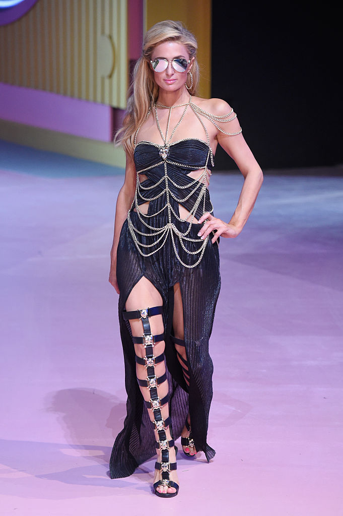 MILAN, ITALY - SEPTEMBER 21: Paris Hilton walks the runway at the Philipp Plein show during Milan Fashion Week Spring/Summer 2017 on September 21, 2016 in Milan, Italy. (Photo by Victor Boyko/Getty Images)