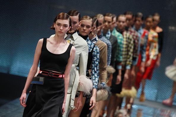 MILAN, ITALY - SEPTEMBER 22:  A model walks the runway at the Prada show during Milan Fashion Week Spring/Summer 2017 on September 22, 2016 in Milan, Italy.  (Photo by Antonio de Moraes Barros Filho/WireImage)