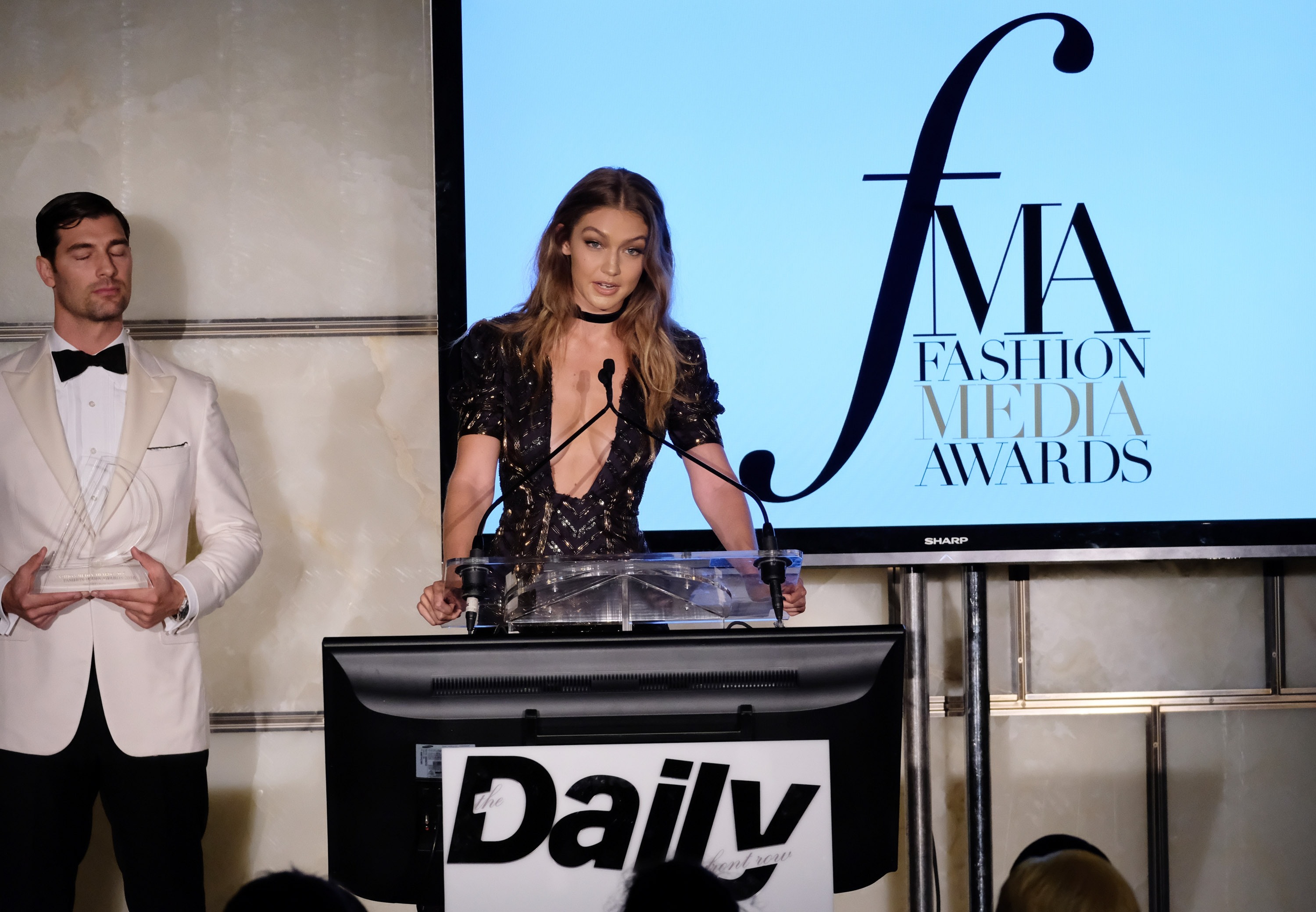 NEW YORK, NY - SEPTEMBER 08: (EXCLUSIVE ACCESS, SPECIAL RATES APPLY) Model Gigi Hadid speaks onstage during the The Daily Front Row's 4th Annual Fashion Media Awards at Park Hyatt New York on September 8, 2016 in New York City. (Photo by Larry Busacca/Getty Images)