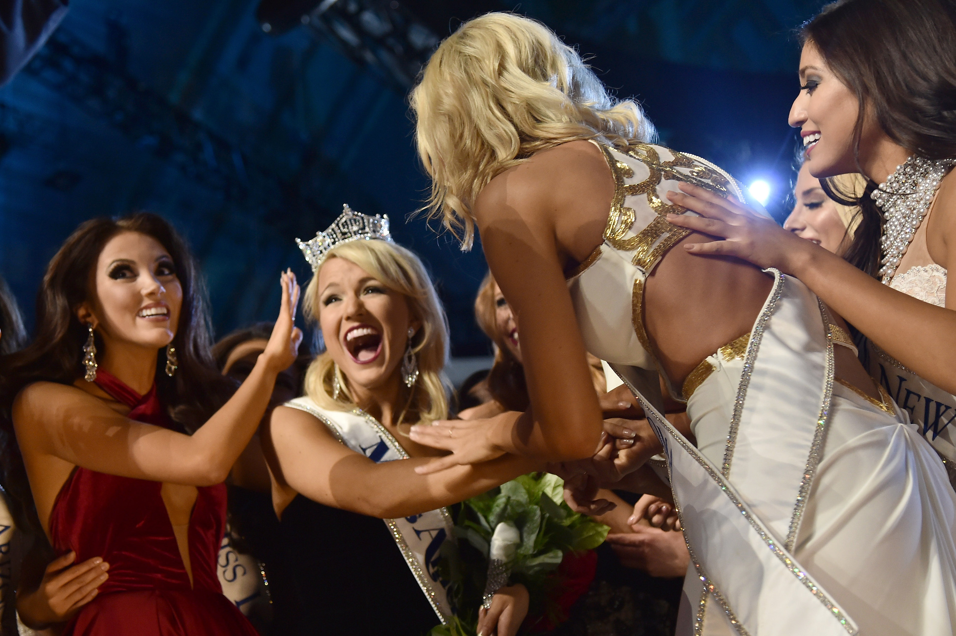 ATLANTIC CITY, NJ - SEPTEMBER 11: Miss America 2017 Savvy Shields (C) and Miss America 2017 contestants appear onstage during the 2017 Miss America Competition at Boardwalk Hall Arena on September 11, 2016 in Atlantic City, New Jersey. (Photo by Michael Loccisano/Getty Images for dcp)