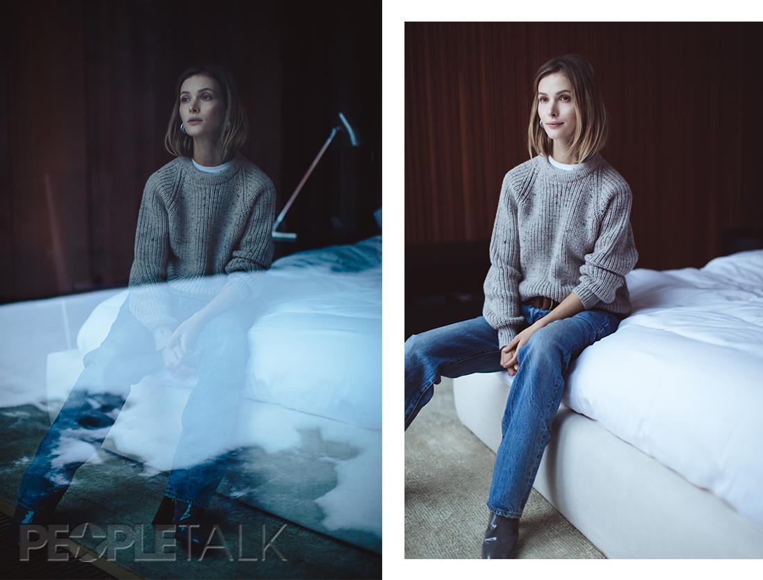 Джинсы, Levi's; свитер, Aran Crafts; ботильоны, Louis Vuitton; серьги, youngandbeautiful.ru