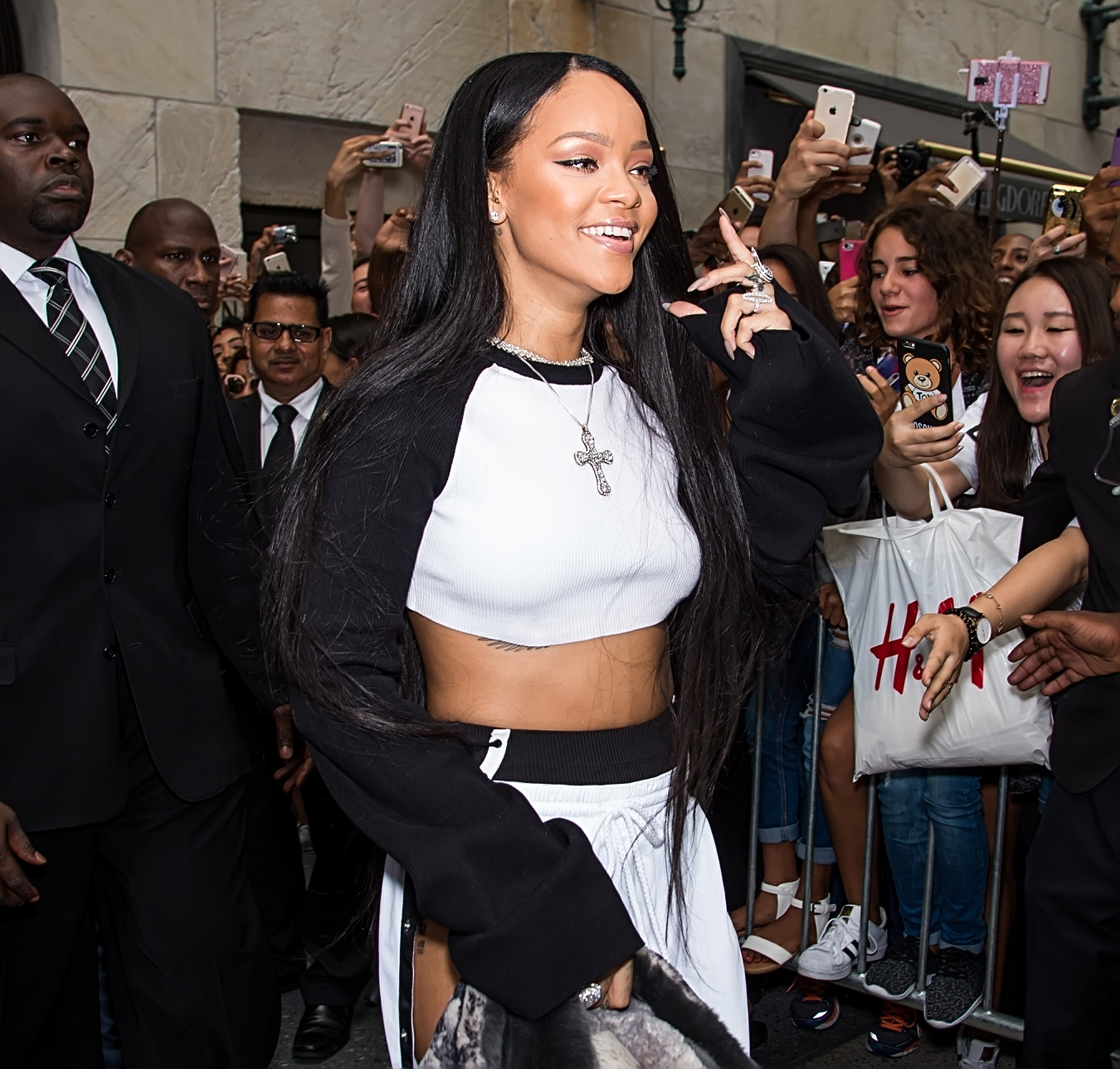 Rihanna arrives at the launch of her collection FENTY PUMA by Rihanna with Bergdorf Goodman in New York City