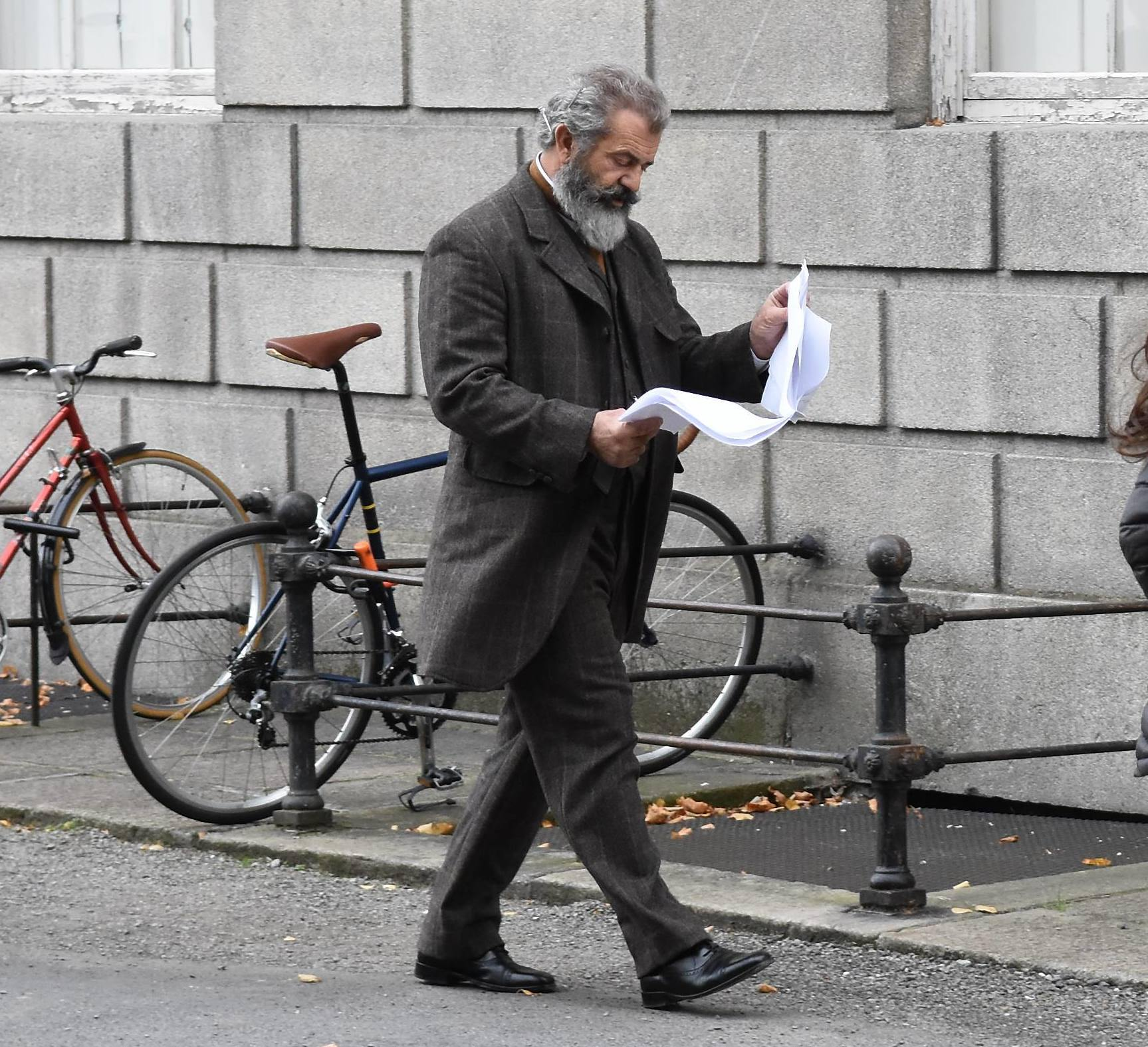 EXCLUSIVE Mel Gibson Bare Chested on Dublin Movie Set