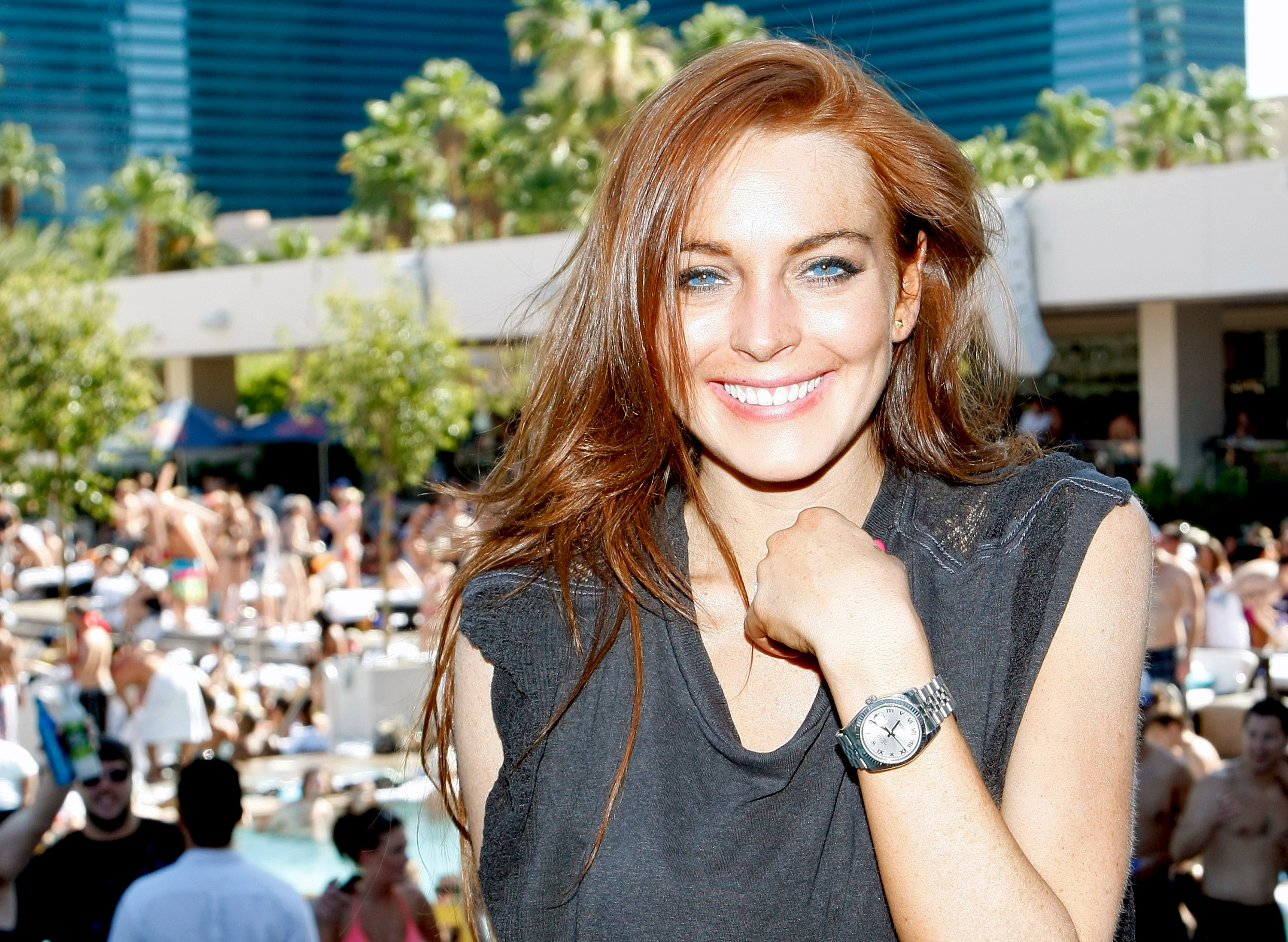 Lindsay Lohan Celebrates Her Birthday At Wet Republic At MGM Grand