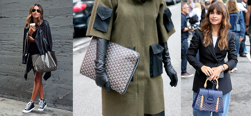 PARIS, FRANCE - MARCH 01: Fashion Buyer Diana Paolucci wears a Yang Li coat and a Goyard bag  on day 5 of Paris Collections: Women on March 01, 2014 in Paris, France.  (Photo by Kirstin Sinclair/Getty Images)
