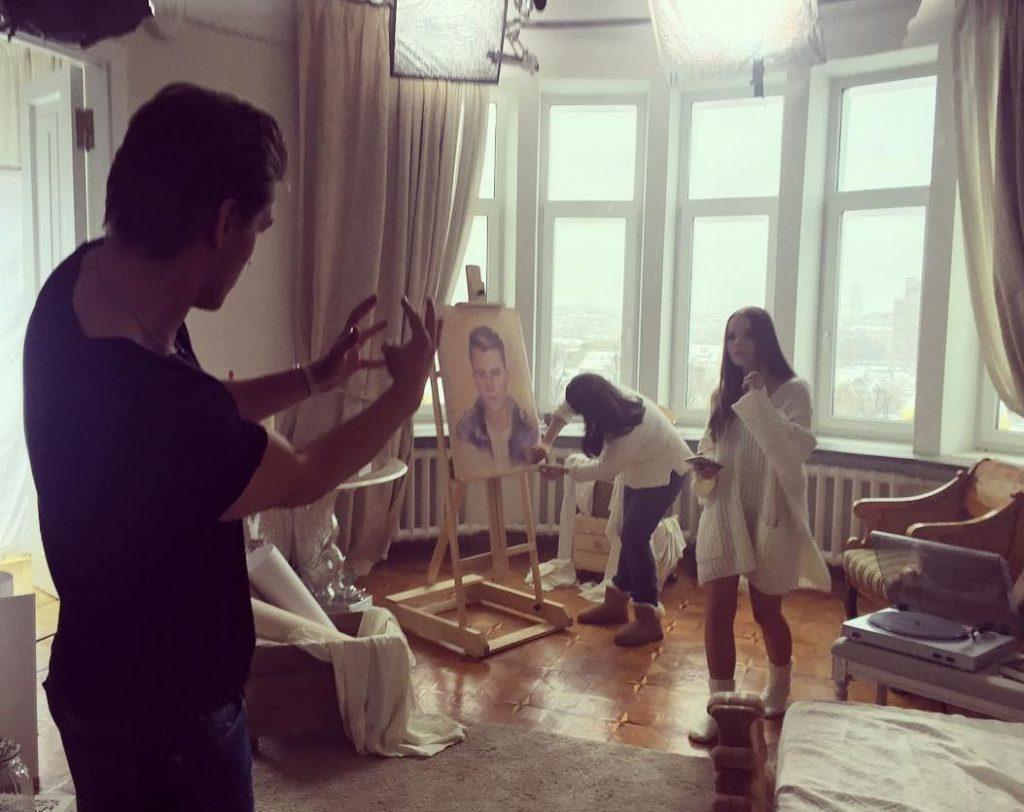 Алексей Воробьев на съемках клипа