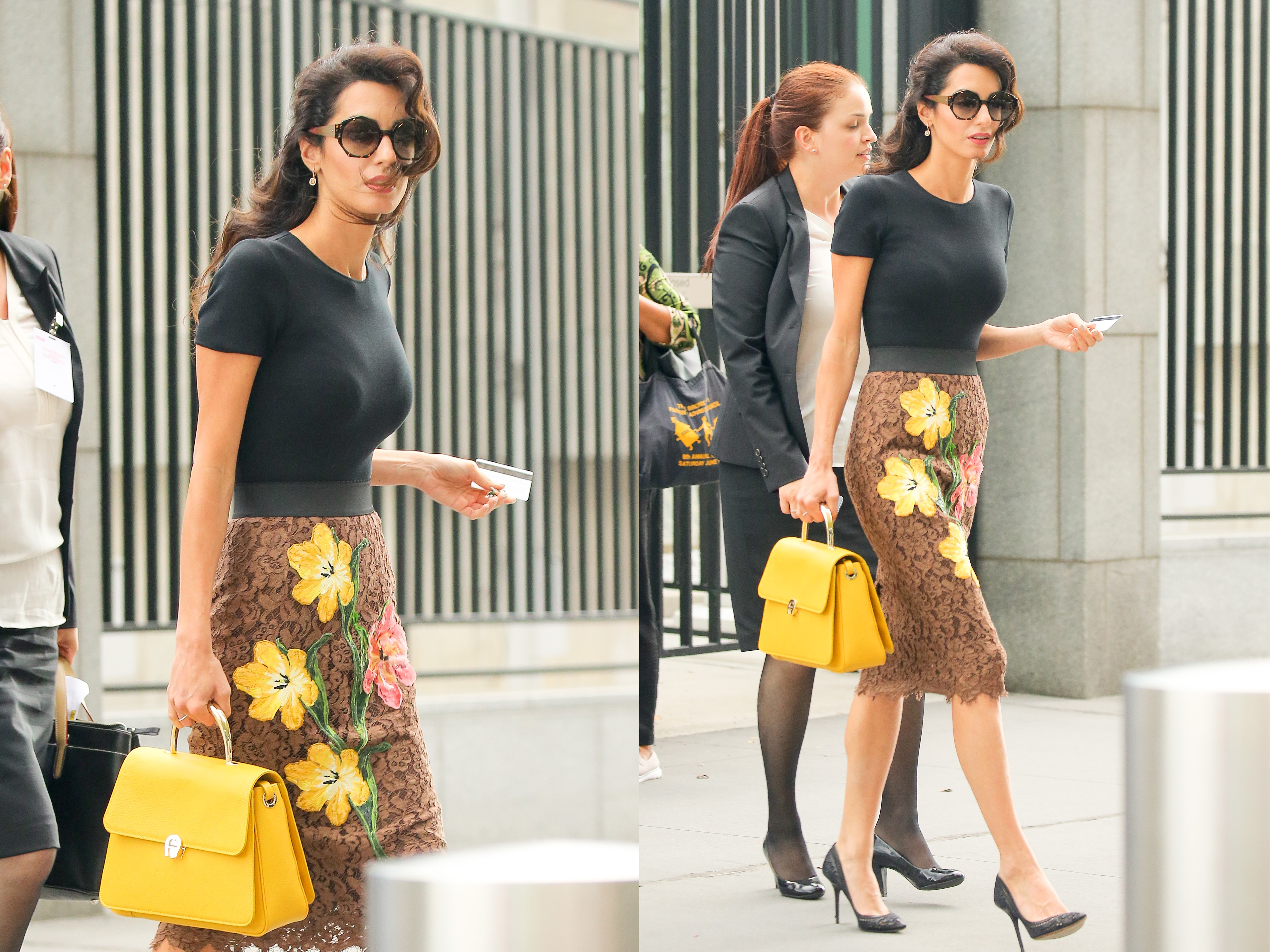 EXCLUSIVE: Amal Clooney wears a Dolce & Gabbana floral skirt while out and about in New York City Pictured: Amal Clooney Ref: SPL1363952  280916   EXCLUSIVE Picture by: Felipe Ramales / Splash News Splash News and Pictures Los Angeles:	310-821-2666 New York:	212-619-2666 London:	870-934-2666 photodesk@splashnews.com