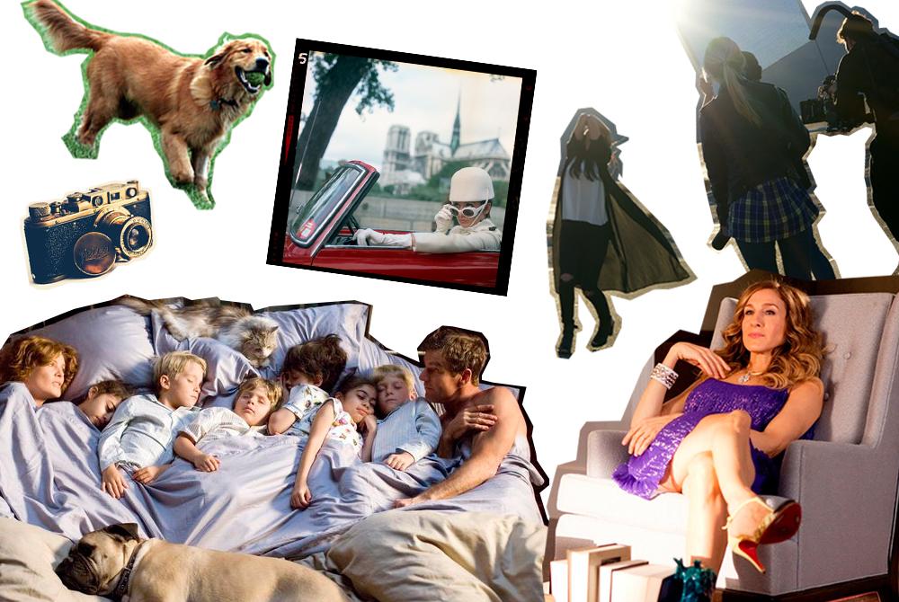 Квартира в Нью-Йорке; кабриолет; большая семья; золотистый ретривер; пленочный фотоаппарат; снимать клипы