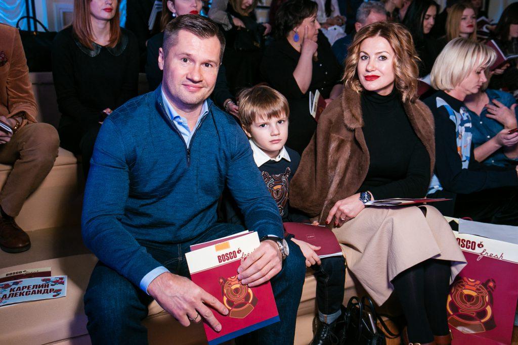 Алексей и Галина Немовы с сыном Лешей на показе BOSCO Fresh
