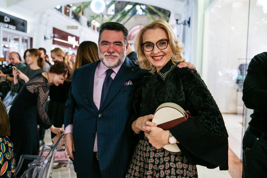 Михаил Куснирович и Екатерина Моисеева  на показе Alberta Ferretti