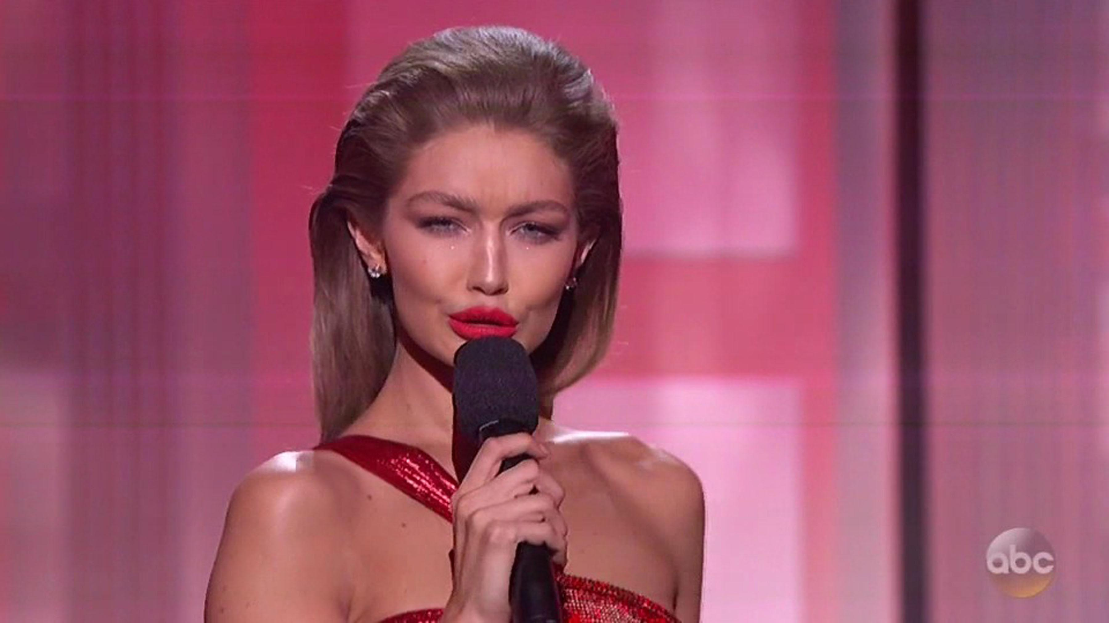 Model Gigi Hadid is branded 'racist' after impersonating Melania Trump while hosting the American Music Awards
