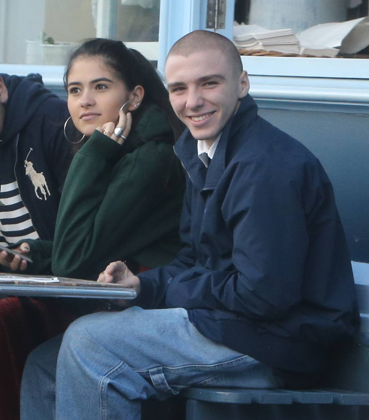 Rocco Ritchie having lunch with his friends and the same girl he is been seeing several days together
