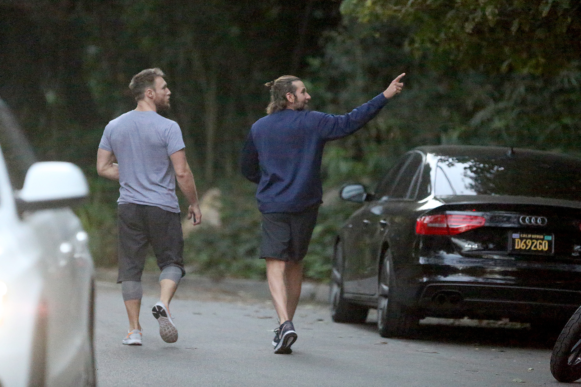 EXCLUSIVE: Bradley Cooper gets in shape for fatherhood as he goes for a run near his home in Los Angeles.