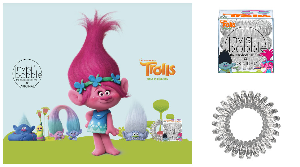 invisibobble ® Sparkling Clear ORIGINAL Trolls Edition