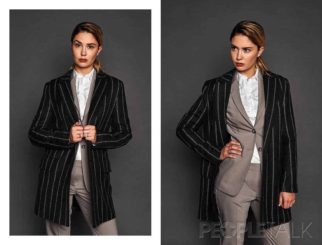 Костюм, VASSA&Co; пальто, Форма; блузка, Mango