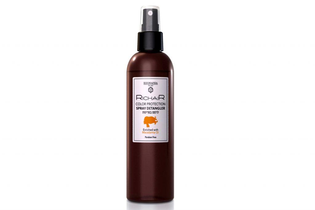 Спрей для облегчения расчесывания и защиты цвета с маслом макадамии, Egomania. Цена по запросу. С ним окрашенные волосы дольше держат цвет.