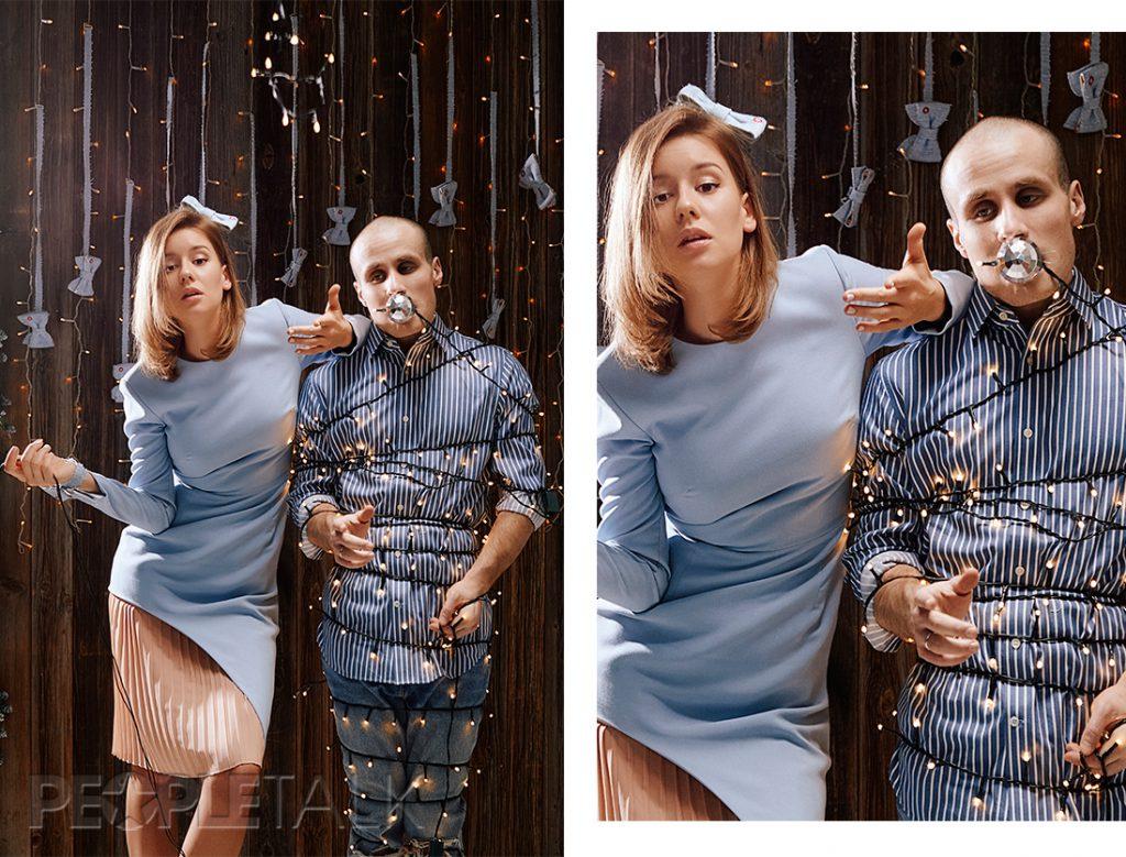 Ирина: платье, Daria Bardeeva; лодочки, Stuart Weitzman. Никита:  рубашка, Banana Republic; джинсы, Levi's;кроссовки, Zara