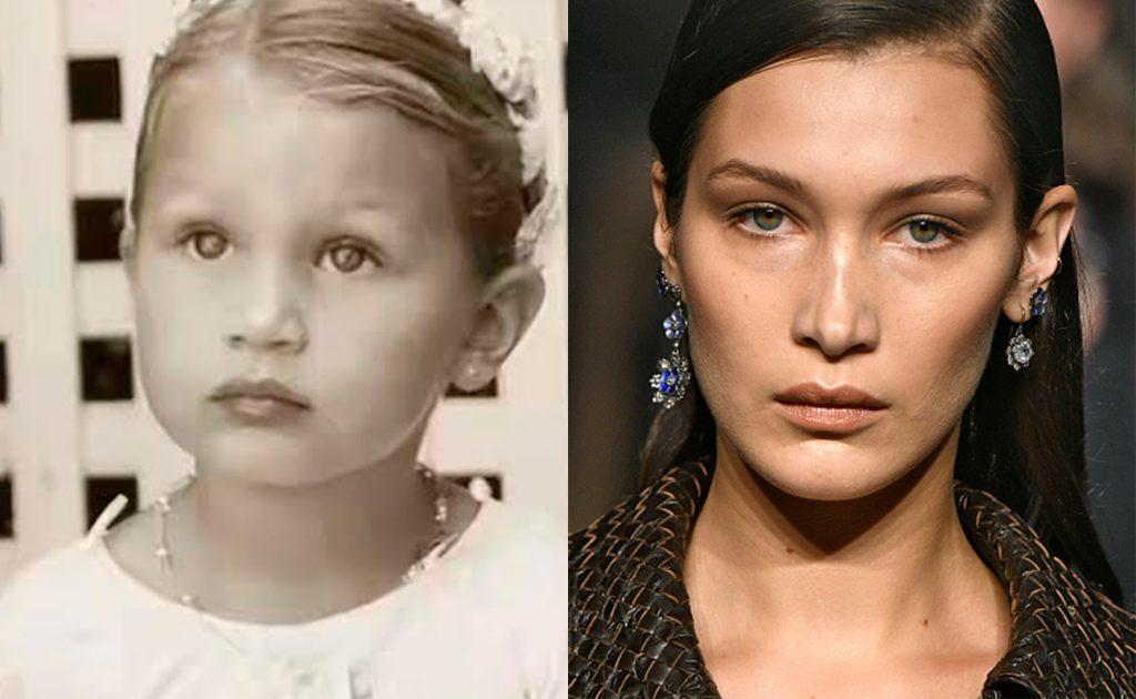 Белла Хадид в детстве и в 2016 г.
