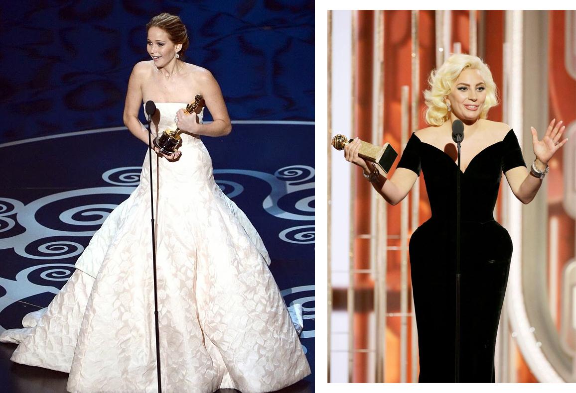 Дженнифер Лоуренс на «Оскаре» и Леди Гага на «Золотом глобусе».
