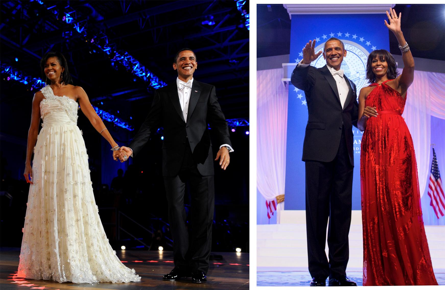 Барак и Мишель Обама в платьях Jason Wu на первой и второй инаугурации мужа