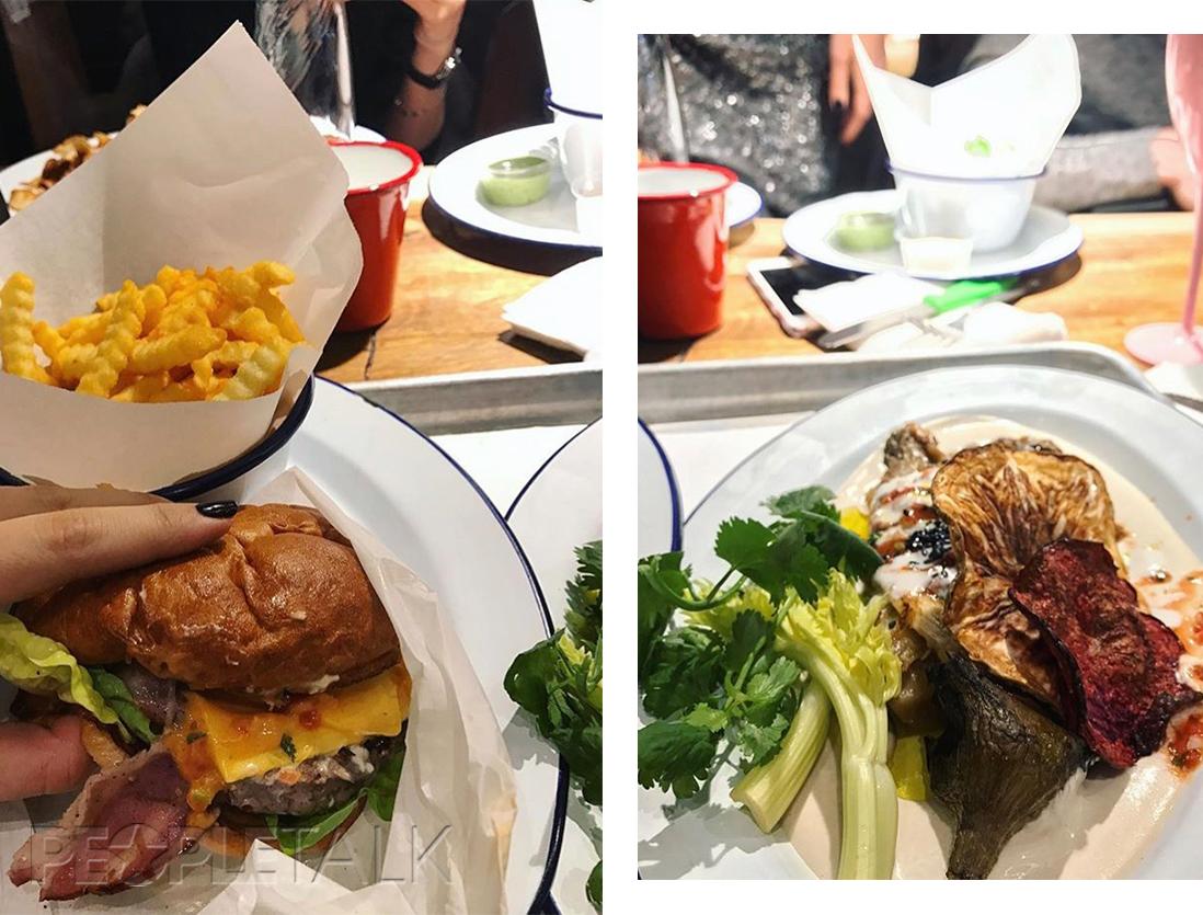 Бургер Блю Чиз; жжённый баклажан с йогуртом и сальсой