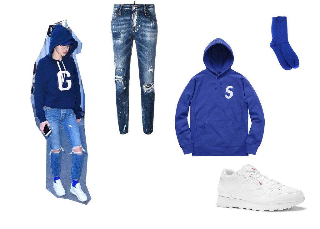 Джиджи Хадид; джинсы Dsquared2; толстовка Supreme; кроссовки Reebok