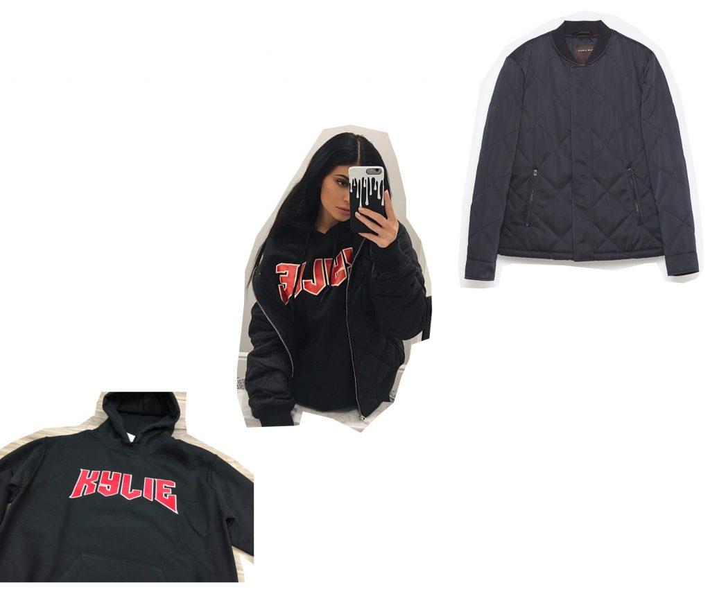 Кайли Дженнер; толстовка Kylie; куртка Zara